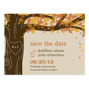 Oak Tree Fall Wedding Save The Date Postcard Postcards