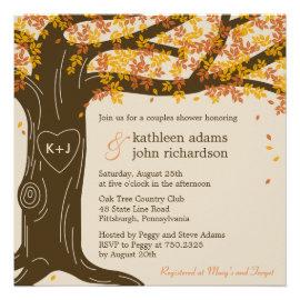 Amazing Oak Tree Fall Wedding Shower Invitation Invites