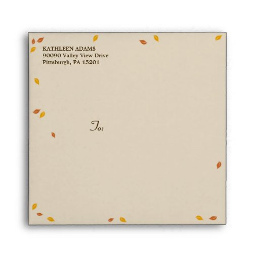 Oak Tree Fall Wedding - Square Envelope Envelopes