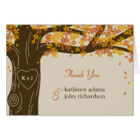 Oak Tree Fall Wedding Thank You Note Cards