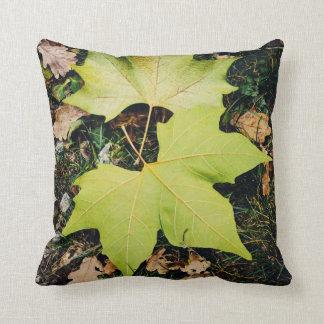 Oak tree green leaves throw pillow