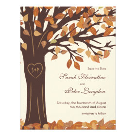 Oak Tree Heart Save the Date Wedding Card Personalized Invitations