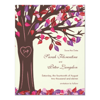 "Oak Tree Heart Save the Date Wedding Card 4.25"" X 5.5"" Invitation Card"