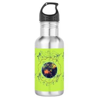 Oak Tree Leaves Green Stainless Steel Water Bottle