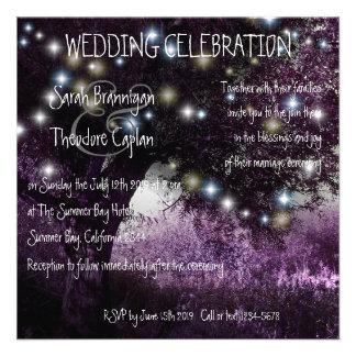Oak Tree night lights wedding Invites