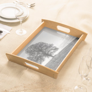 Oak Tree On A Hill Serving Platters