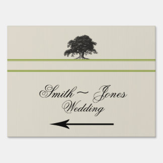 Oak Tree Plantation Green Wedding Direction Sign