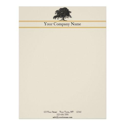 Oak Tree Plantation in Gold Custom Letterhead