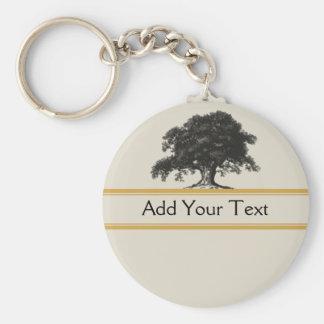 Oak Tree Plantation in Gold Keychain