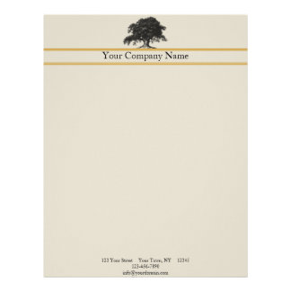 Oak Tree Plantation in Gold Letterhead
