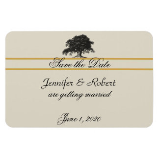 Oak Tree Plantation in Gold Save the Date Rectangular Photo Magnet