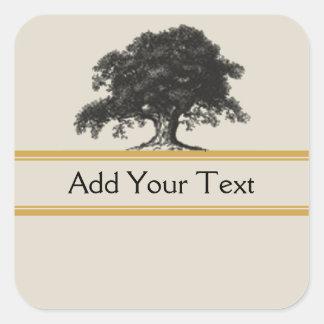 Oak Tree Plantation in Gold Square Sticker