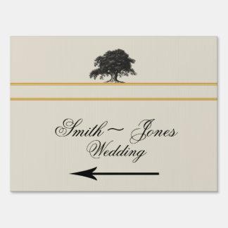 Oak Tree Plantation in Gold Wedding Direction Sign