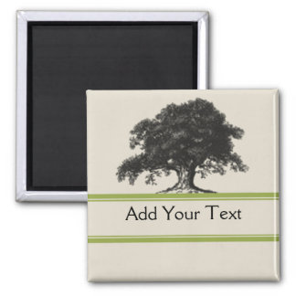 Oak Tree Plantation in Green 2 Inch Square Magnet