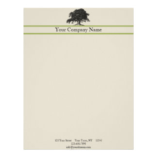 Oak Tree Plantation in Green Letterhead