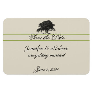 Oak Tree Plantation in Green Save the Date Rectangular Photo Magnet
