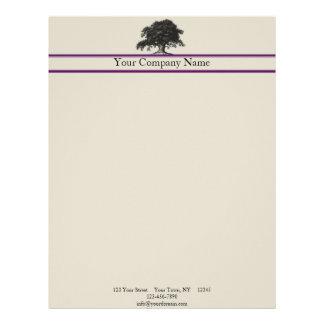 Oak Tree Plantation in Purple Letterhead