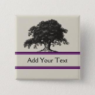 Oak Tree Plantation in Purple Pinback Button