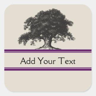 Oak Tree Plantation in Purple Square Sticker