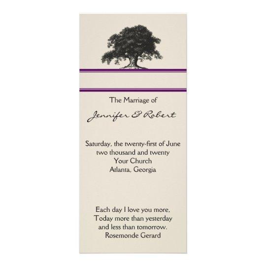 Oak Tree Plantation in Purple Wedding Program