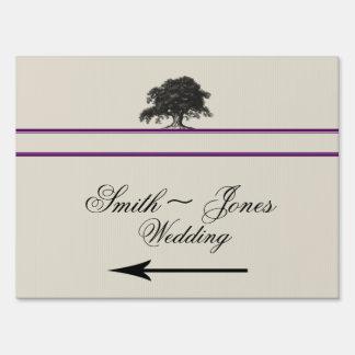 Oak Tree Plantation Purple Wedding Direction Sign