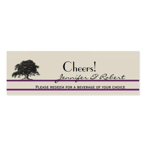 Oak Tree Plantation Purple Wedding Drink Tickets Business Card Templates