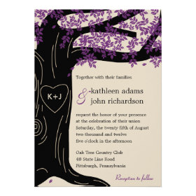 Oak Tree Purple Wedding Invitation Personalized Announcements