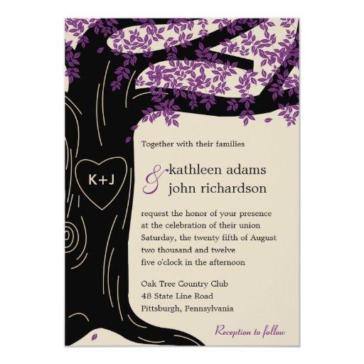 Oak Tree Purple Wedding Invitation
