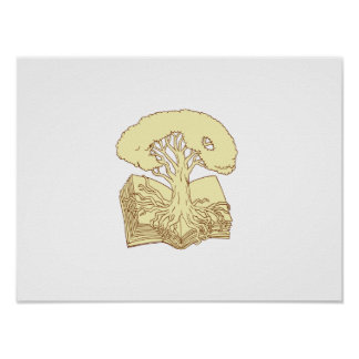 Oak Tree Rooted on Book Drawing Poster