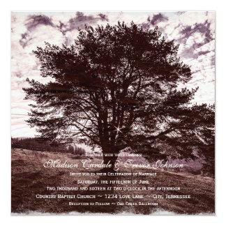 """Oak Tree Rustic Country Wedding Invitations 5.25"""" Square Invitation Card"""