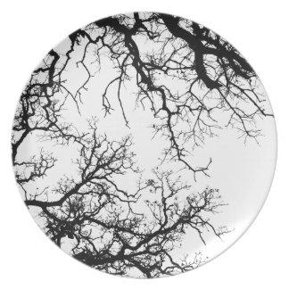 oak tree silhouette melamine plate