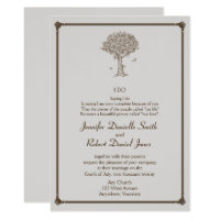 Oak Tree Sketch Wedding Invitation