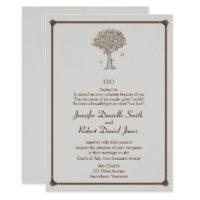 Oak Tree Sketch Wedding Invitation