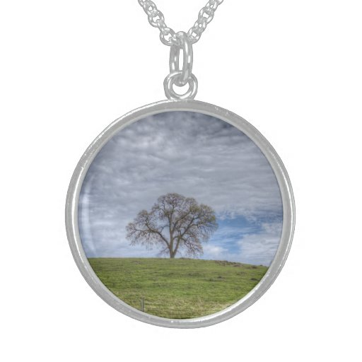 Oak Tree Solitaire Sterling Silver Necklace