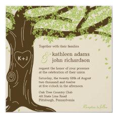"""Oak Tree Wedding Invitation 5.25"""" Square Invitation Card at Zazzle"""