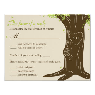 Oak Tree Wedding RSVP Card w/ Menu Selection Personalized Announcement