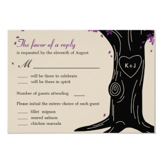 Oak Tree Wedding RSVP Card w/ Menu Selection Personalized Invitation