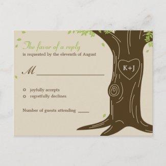 Oak Tree Wedding RSVP Postcard postcard