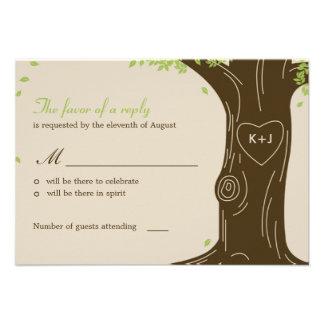 Oak Tree Wedding RSVP Response Card Announcement