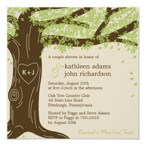 "Oak Tree Wedding Shower Invitation 5.25"" Square Invitation Card"