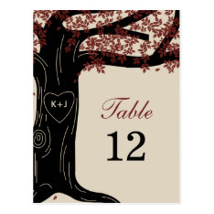 Oak Tree Wedding Table Number Card at Zazzle