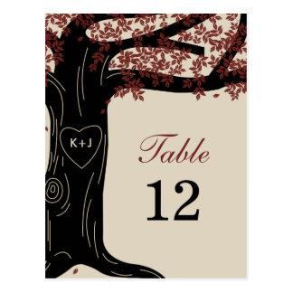 Oak Tree Wedding Table Number Card