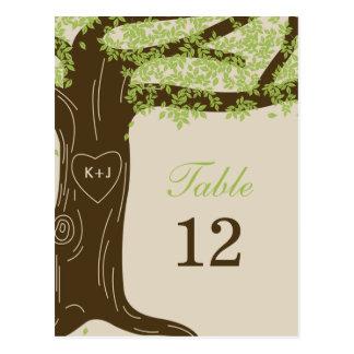 Oak Tree Wedding Table Number Card Postcards
