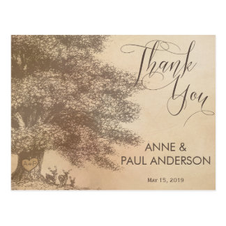 Oak tree with deers Thank You Card