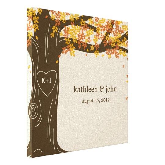 Custom Wedding Accessories Savannah Live Oak Thumbprint: Oak Tree Wrapped Canvas Art - Orange