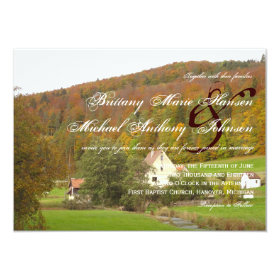 Oak Trees With a Farm Country Wedding Invitations 4.5