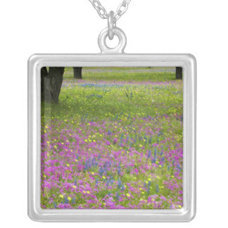 Oak Trees with field of Phlox, Blue Bonnets Silver Plated Necklace