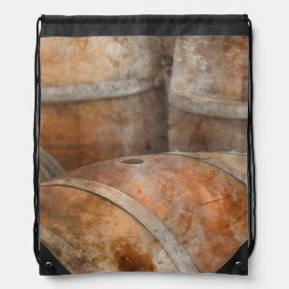 Oak Wine Barrel Drawstring Bag