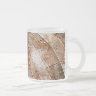 Oak Wine Barrel Frosted Glass Coffee Mug