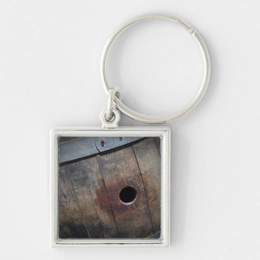 Oak Wine Barrel Key Chain